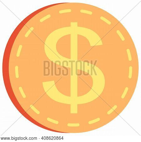 Gold Coin With Dollar Sign Isolated On White Background. Means To Pay For Goods And Purchases. Metal