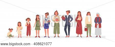 Woman Ages Life Cycle, Happy Female Characters Standing In Row, Lady Aging Process
