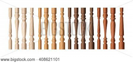 Wooden Baluster Columns Set, Realistic Balustrade Pillars In Different Shade Of Brown