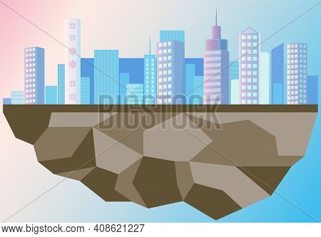 Ideal City Isolated On Remaining Piece Of Land. Creating Utopia During Environmental Problems. Skysc