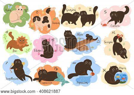 Set Of Cute Kawaii Zodiac Cats. Vector Collection Of Twelve Zodiac Signs: Aries, Taurus, Gemini, Can