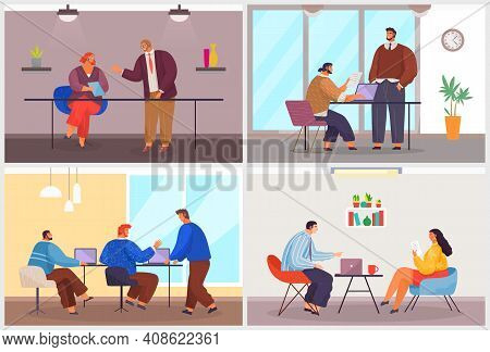 Conference Of Businesspeople, Collection Of Illustrations With Office Workers Talking, Discussing Pr