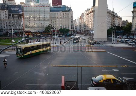 Buenos Aires, Argentina - January, 2020: Plaza De La Republica View With Obelisco De Buenos Aires. T
