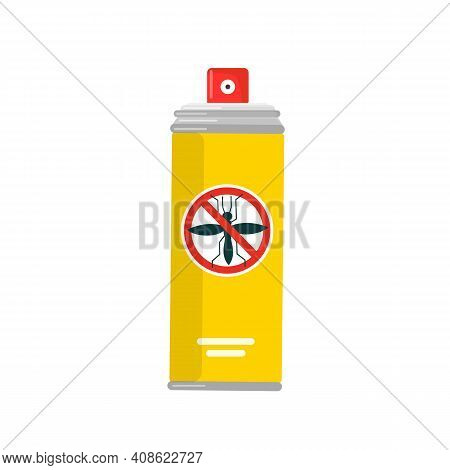 Repellent Spray Can Isolated On White Background. Insect Repellent Spray. Prevention Concept. Vector