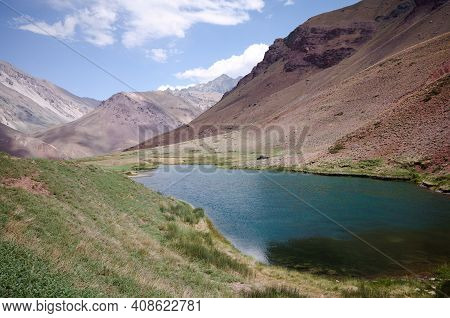High Altitude Lake Called Laguna De Horcones Located In Aconcagua Provincial Park, Andes Mountains,