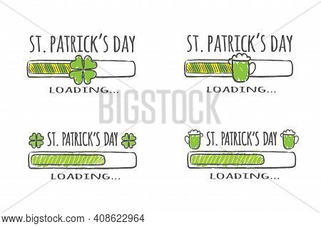 Set Of Progress Bars With Inscription - St. Patrick Day Loading Collection In Sketchy Style. Vector