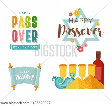 Pesah Celebration Concept , Jewish Passover Holiday. Greeting Cards With Traditional Icons, Four Win