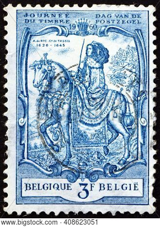 Belgium - Circa 1960: A Stamp Printed In Belgium Shows Alexandrine De Rye, Countess Of Taxis, Was Gr