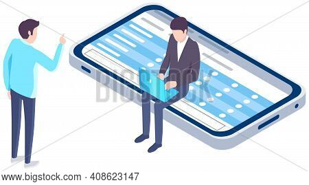 Application For Studying. Man Sits At Smartphone Screen With Checklist. Expert Analyzes Schedule On