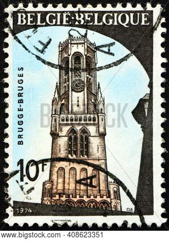 Belgium - Circa 1974: A Stamp Printed In Belgium Shows Belfry, Bruges, Historic Building, Circa 1974