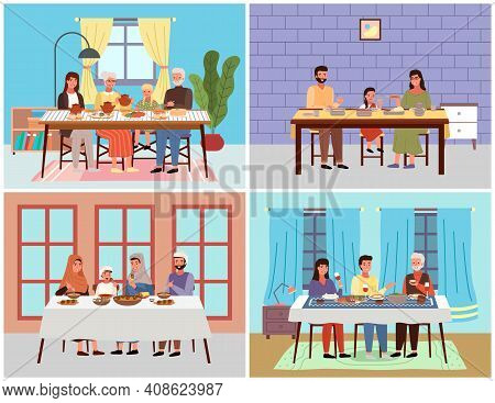 Set Of Illustrations On The Theme Of Dinner At Home With Family. People Eat National Dishes And Comm