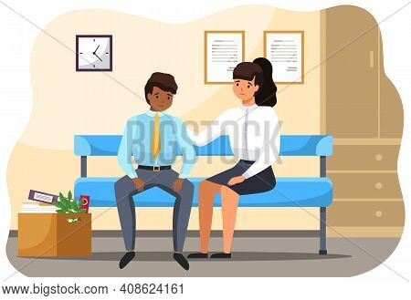Man And Woman Sitting On The Bench In Office Upset Business People In Sad Feeling And Emotional Conc