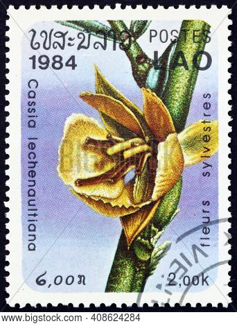 Laos - Circa 1984: A Stamp Printed In Laos Shows Cassia Lechenaultiana, Flowering Plant, Circa 1984