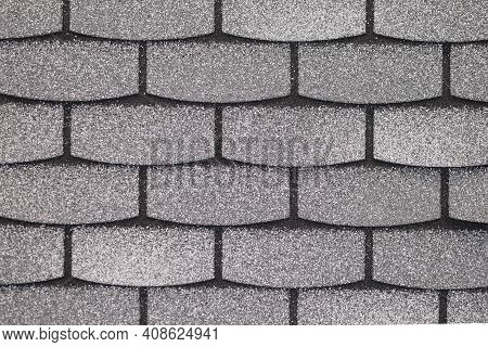 Flexible Roof Tiles, Texture Background. Roofing Shingles Black And Gray Color, Roof Tile Texture. R