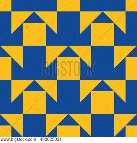 Morroccan Geometric Vector Pattern Background. Backdrop With Cobalt Blue And Orange Grunge Texured T