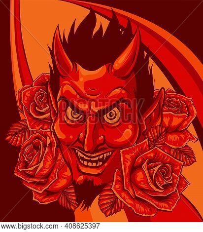 Evil Face With Red Roses. Illustration Vector Image