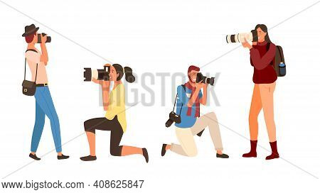 Professional Man And Woman With Camera, Shooting Outdoor. Photographers Set In Casual Clothes, Male