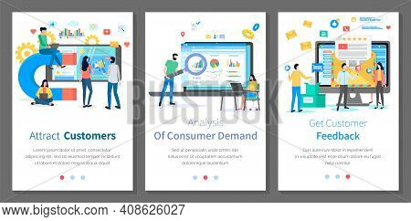 Set Of Illustrations On The Topic Of Working With Client And Studying His Behavior. Online Marketing