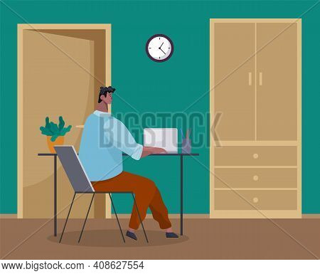 Office Worker At The Table With A Laptop. Businessman Or A Clerk Working At His Office Workplace Fla