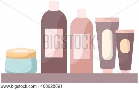 Set Of Cosmetic Bottles Packaging Mockup For Design. Creams And Care Products Vector Illustration. C