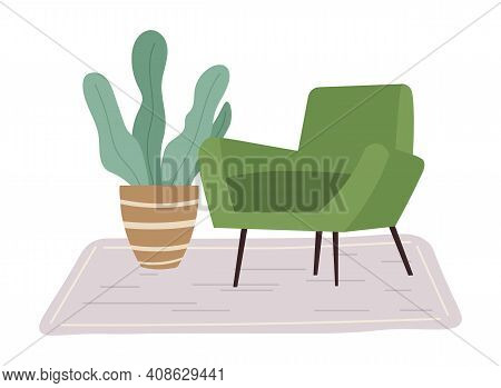 Retro Green Colored Armchair And Indoor Plant In Pot. Living Room Furniture Design Concept Modern Ho