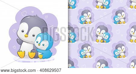 The Penguin Is Talking With The Baby Penguin The Pattern Set Watercolor Illustration