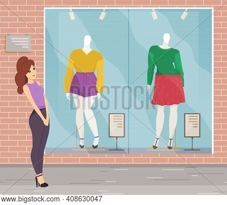 Cute Girl Choosing Clothes On Mannequin At Front Shop Window. Female Character Standing On The Stree