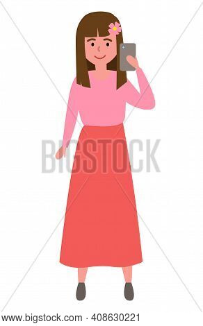 Cartoon Of Smiling Girl Make Selfie Vector Icon For Web Design Isolated On White. Cute Little Girl W