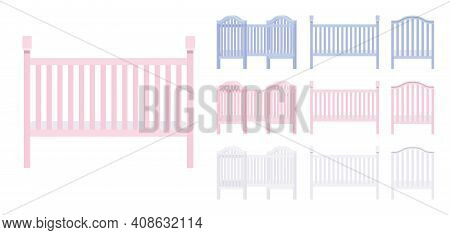 Baby And Toddler Wooden Cot Bed Pink, Blue, White Set. Nursery Home Furniture For Child, Infant Safe
