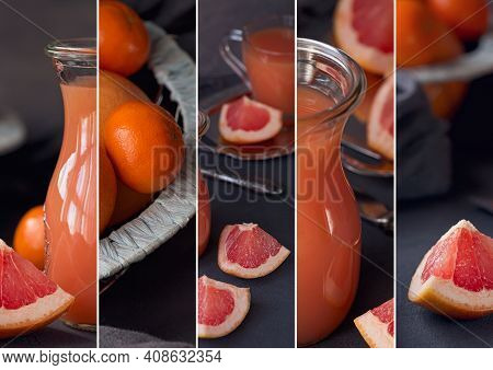 Collage Of Photo With Fresh Squeezed Grapefruit Juice With Fresh Citrus Fruits On Dark Background. G
