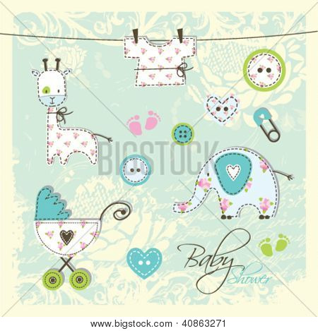 Baby shower design elements / scrapbook elements
