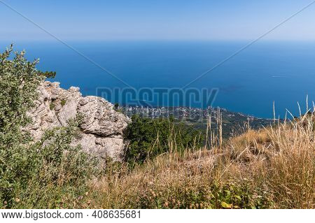 View Of Gaspra And Koreiz Resort Villages From A Height, Crimea. View From The Mountain