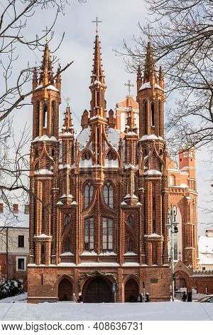 Vilnius, Lithuania - February 16, 2021: Facade Of The Church Of St. Anne, A Prominent Landmark In Th