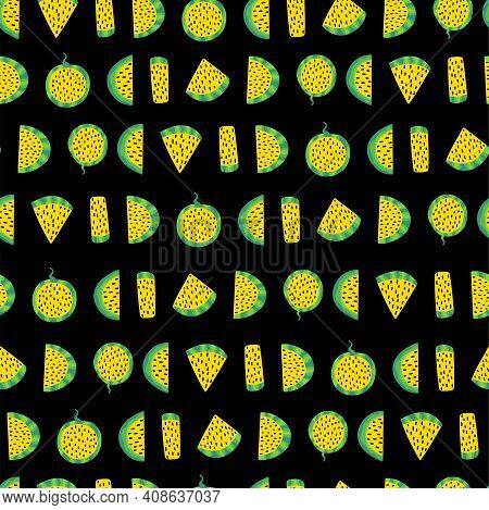 Watermelon Slices With Yellow Fresh And Seeds On Black Seamless Pattern Vector. Chopped Watermelon B