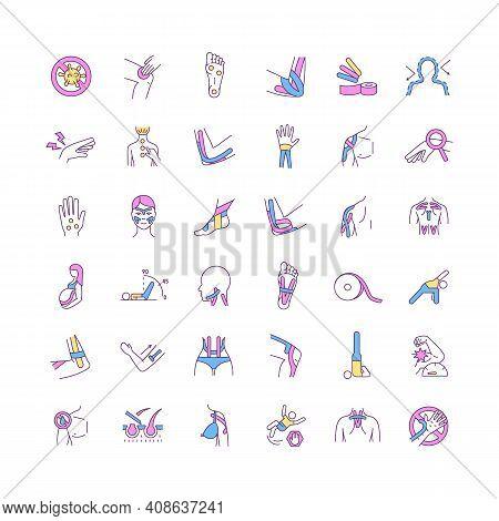 Alternative Medicine Rgb Color Icons Set. Applying Kinesio Tape. Body Manipulation. Muscle Function
