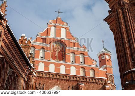 Detail Of Church Of St. Francis And Bernadine In Vilnius, Lithuania