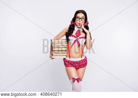 Close Up Photo Model She Her Sensual Teacher Lady Hot Hold Many Book Student Pigtails Ponytails Unex