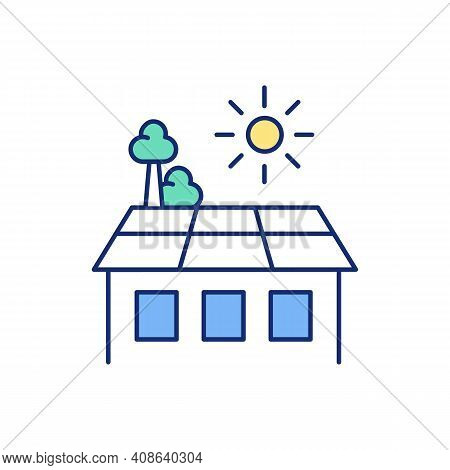 Rooftop Place For Relaxation Rgb Color Icon. Rooftop Garden Development. Recreational Green Space. O