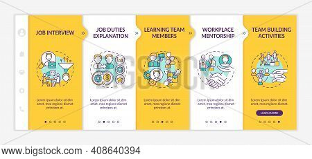 Selection Of Workers Onboarding Vector Template. Job Responsibilities. Process Of Internship And Men
