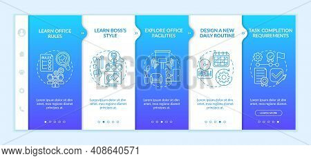 Setting Contact In Company Onboarding Vector Template. Responsive Mobile Website With Icons. Learnin