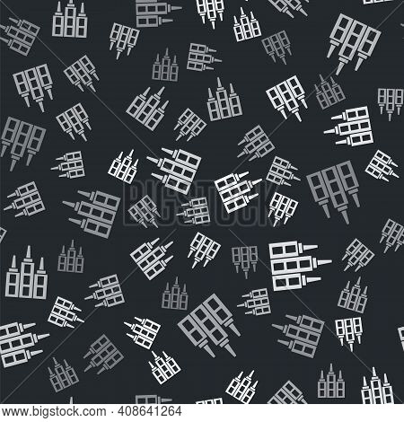 Grey Skyscraper Icon Isolated Seamless Pattern On Black Background. Metropolis Architecture Panorami