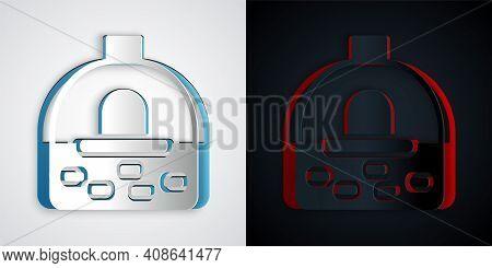 Paper Cut Brick Stove Icon Isolated On Grey And Black Background. Brick Fireplace, Masonry Stove, St