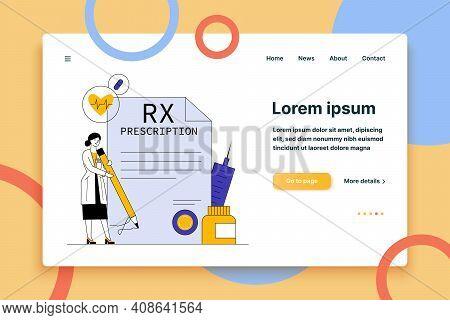 Pharmacist Signing Drug Prescription Flat Vector Illustration. Pharmaceutical Painkiller Medication
