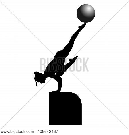 Vector Illustration Of A Black Silhouette Of A Gymnast Who Stands With Her Hands On The Pedestal And