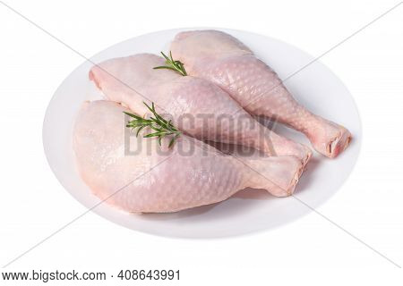 Raw Meat Products.whole Chicken Leg White Plate Isolated Object White Background Raw Chicken Meat.