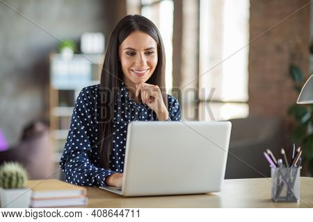 Photo Of Young Attractive Happy Positive Smiling Businesswoman Working Online In Laptop Thinking At