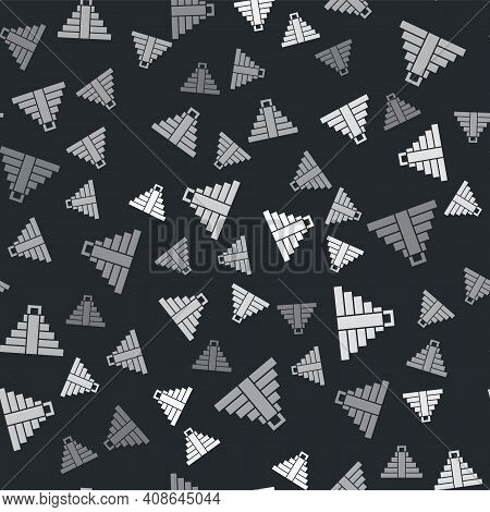 Grey Chichen Itza In Mayan Icon Isolated Seamless Pattern On Black Background. Ancient Mayan Pyramid
