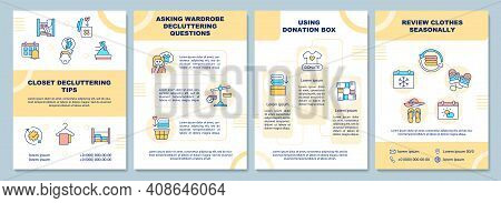 Closet Decluttering Tips Brochure Template. Decluttering Questions. Flyer, Booklet, Leaflet Print, C