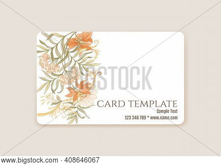 Plastic Debit Or Credit, Pass, Discount, Membership Card Template With Decorative Flowers In Art Nou