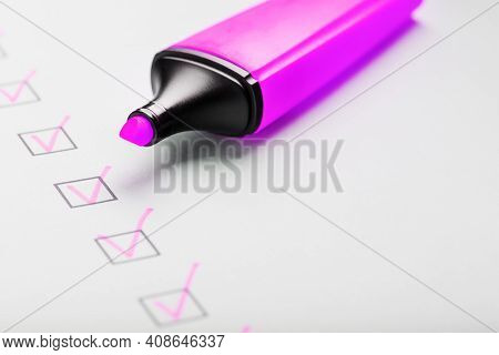 A Magenta Marker With Markers On The Control Sheet.